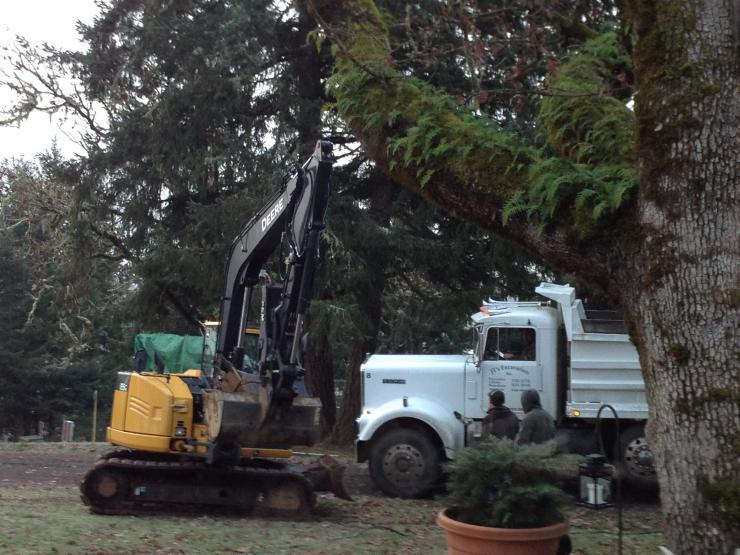 Excavation work on a water catchment system