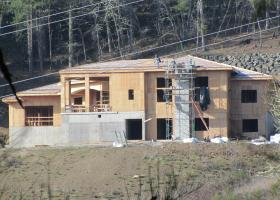 Large house framing being built