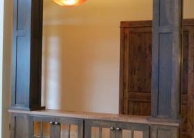 Custom alder cabinets with glass doors & LED lights