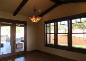 Re-sawn and custom wood beams inside and out