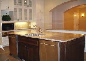 This kitchen featured 2 dishwashers for quick clean up for a large family and entertaining.