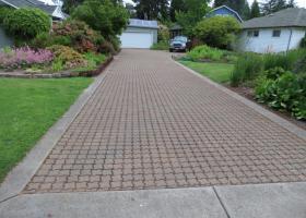 Pavers with concrete border