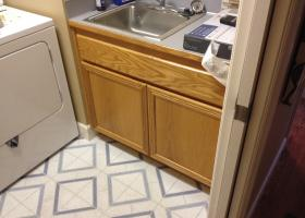 Before: oak cabinets, laminate counter top, drop in sink
