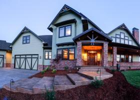 8' custom concrete entry steps and brick columns